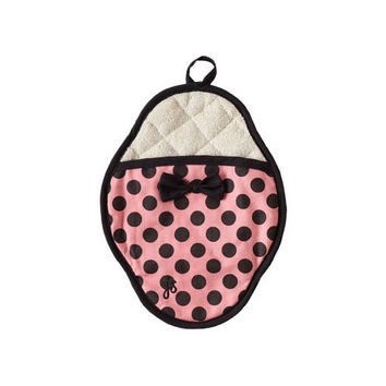 Pink & Black Polka Dot Scalloped Pot Mitt