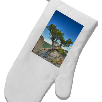 Colorado Landscape Tree White Printed Fabric Oven Mitt