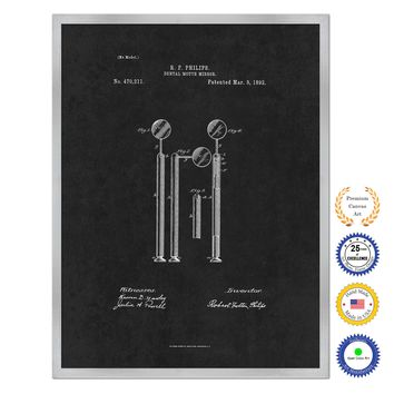 1892 Dentist Dental Mouth Mirror Antique Patent Artwork Silver Framed Canvas Home Office Decor Great for Dentist Orthodontist