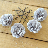 Grey Satin Rose Wedding Hair Pins, Grey Bridal Hair Pins, Hair Accessories, Satin Hair Pins, Bridesmaid Hair, Woodland - Set of 4