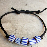 Vintage Murano glass beads bracelet, Handcrafted in Venice, Italy, blue and white striped vintage handmade beads