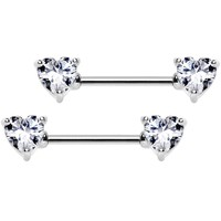"14 Gauge 9/16"" Clear CZ Gem Heart Barbell Nipple Ring Set"