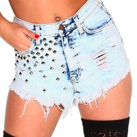 Studded Acid Washed High Waisted Shorts
