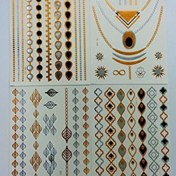 Jewelry Inspired Temporary Tattoo. Set of 4 Differents Sheets & Designs