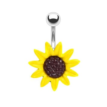 BodyJ4You® Belly Button Ring Big Stunning Sunflower 14G Piercing Jewelry