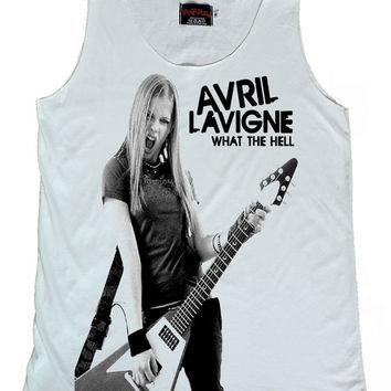 Avril Lavigne Play guitar star Tank Top Size S,M,L,XL