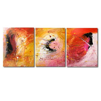 """'Fire storm'  - 48"""" X 20"""" Original Abstract  Art. Free-shipping within USA & 30 day return Policy."""