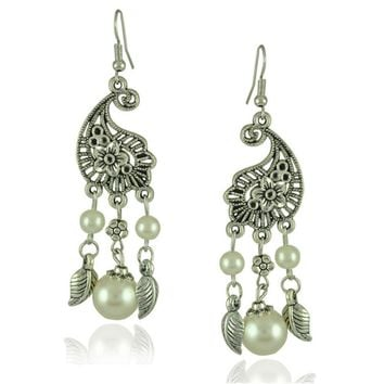Retro peacock earrings imitation pearl drop earrings baroque national wind earrings bohemian gift
