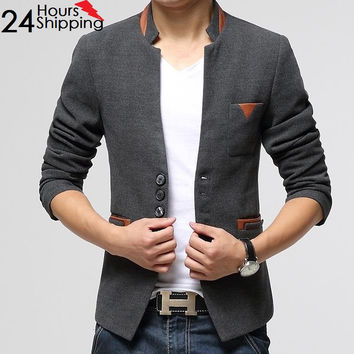 Top Quality Men's suits Woolen  Single Button Casual Blazer ,Men's Business Slim Jacket Coat