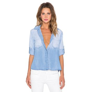 Bella Dahl Split Back Button Down Medium Ombre Wash
