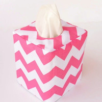 Pink Chevron reversible tissue box cover