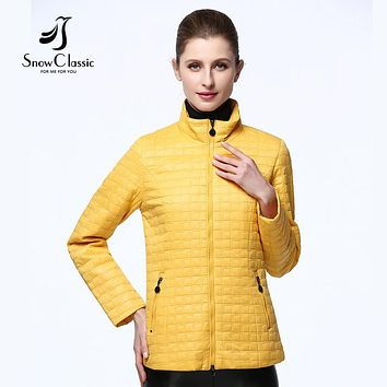 snowclassic 2017 spring jacket women Short Thin stand collar parkas women quilted coat Female Parka solid fashion thin jacket