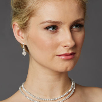 Two-Row Glass Pearl Back Necklace with Dramatic Backdrop 4472N-W-S