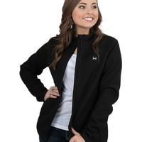 Cinch Women's Black Ribbed with White Embroidery Long Sleeve Sweater Fleece Jacket
