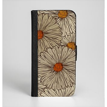The Tan & Orange Tipped Flowers Pattern Ink-Fuzed Leather Folding Wallet Case for the iPhone 6/6s, 6/6s Plus, 5/5s and 5c