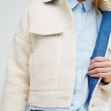 I Love Friday Biker Jacket In Snuggle Faux Fur at asos.com
