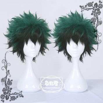 Japanese Anime My Hero Academia Midoriya Izuku Boku no Hero Academia Short Green Gradient Wig Cosplay Hair Halloween