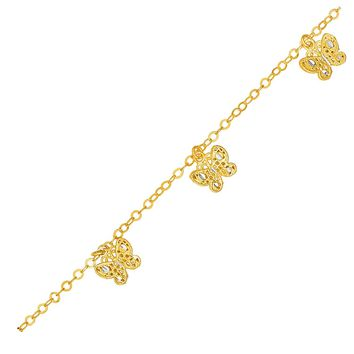 14K Yellow Gold Bracelet with Filigree Style Butterflies