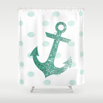 GLITTER ANCHOR AND DOTS in MINT Shower Curtain by colorstudio