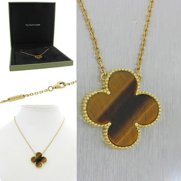 Van Cleef & Arpels Vintage Alhambra Large Tigers Eye 18k Gold Necklace w/Box $40