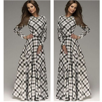 Fashion Women Casual Sleeve O-neck Plaid Elegant Maxi Dress = 1931665924