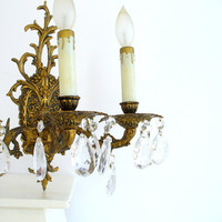 Vintage Crystal Sconces, Pair Brass Bronze 3 Arm Candelabras Wall Lighting Spain