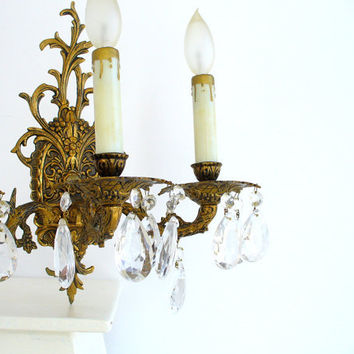 Vintage Crystal Sconces Pair Brass From Birdinhandvtg On Etsy