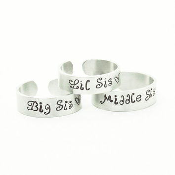 Gifts for sisters big sis middle sis lil sis rings - 3 sister rings - Three sisters rings - Sister jewelry - Gifts for sisters
