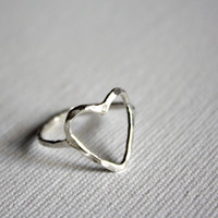 Hammered Open Heart Ring- Sterling Silver