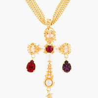 Versace White Multi-chain Jeweled Cross Necklace for women | SSENSE