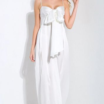 Coming To Play White Sleeveless Spaghetti Strap Bow Wide Leg Jumpsuit