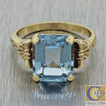 1930s Antique Art Deco Estate 14k Solid Gold 3.53ct Aquamarine Cocktail Ring