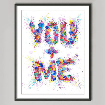 Paint Splashes Art Print Anniversary gift Typographic by Mysoulfly