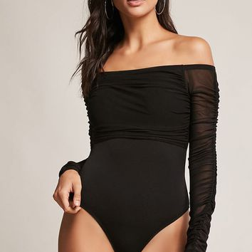 Ruched Off-the-Shoulder Bodysuit