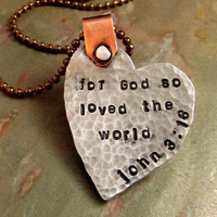 Heart Necklace Handstamped Scripture For by FiredUpLadiesHammer