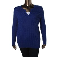 Charter Club Womens Plus Cable Knit Long Sleeves Pullover Sweater