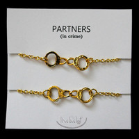 Sisters and Partners in crime matching Bracelets - Gold Handcuffs Bracelet, handcuffs charm bracelet, love bracelet handchain BFF jewelry