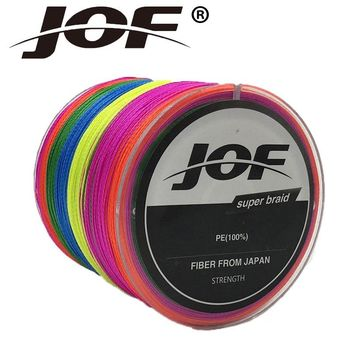 JOF Super Strong 300M 4 stands Multifilament PE Braided Wire Multicolour Fishing Line For Fishing Tools Fly Fishing Thread