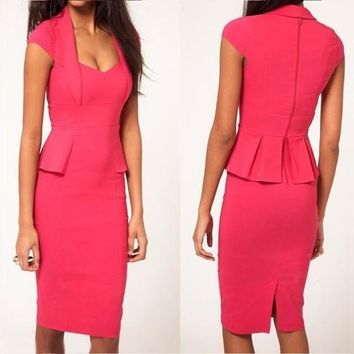 Rose Carmine Pleated Zipper Deep V Office Worker Midi Dress
