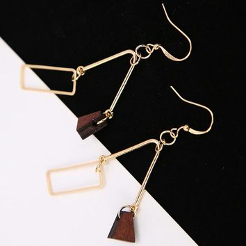 ES302 V Shape Geometric Drop Earrings Triangle Wood Fashion Jewelry boucle d'oreille Women Dangle Brincos