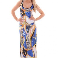 Royal Blue Multi Printed Shimmer Scoop Neck Cutout Back Maxi Dress