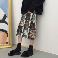 """Gucci"" Women Personality Fashion All-match Tiger Head Print High Waist Show thin Medium Long Section Skirt"