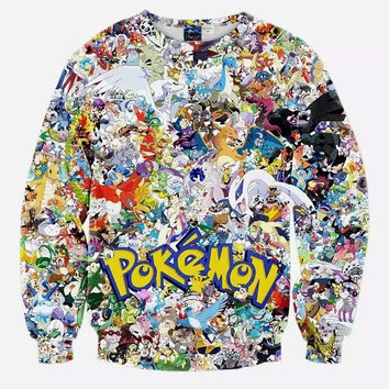 Pokemon Go characters 3D sweatshirt student cartoon Pikachu Squirtle print hoody for men women fans casual crewneck