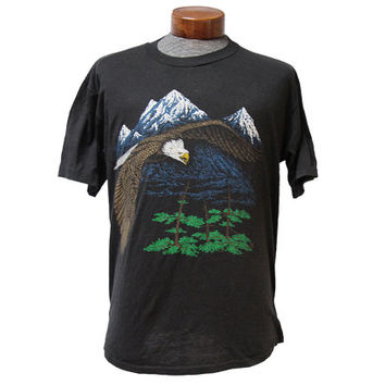 Vintage Bald Eagle in Wilderness Mountains T-shirt 80's Grunge Black Tee Size Large