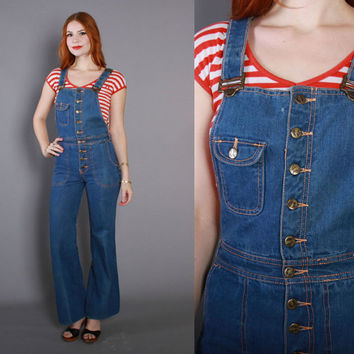 70s Hang Ten DENIM OVERALLS / 1970s Blue Fitted Bell Bottom Jumpsuit xs