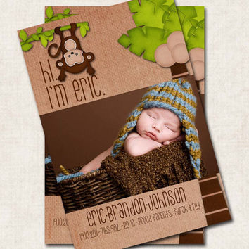 Baby Boy Birth Announcement Thank You, Shower, monkey, jungle, Digital File