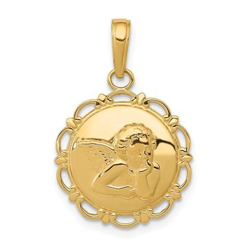 14K Yellow Gold Gold Polished Angel/Cherub on Round Scallop Frame Pendant
