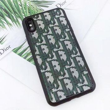 DIOR New fashion embroidery more letter protective cover phone case
