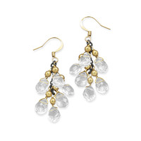 Gold Tone Fashion Earrings with Glass Bead Drops