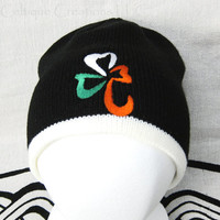 Irish Flag Shamrock Knit Black Winter Cap Ireland Tricolor Hat Green